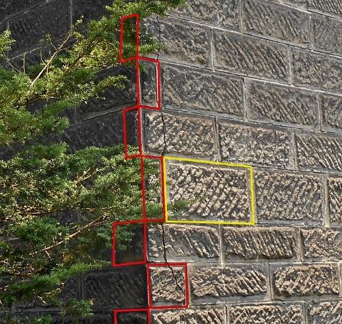 江別 旧岡田倉庫 軟石のサイズの違い 拡大