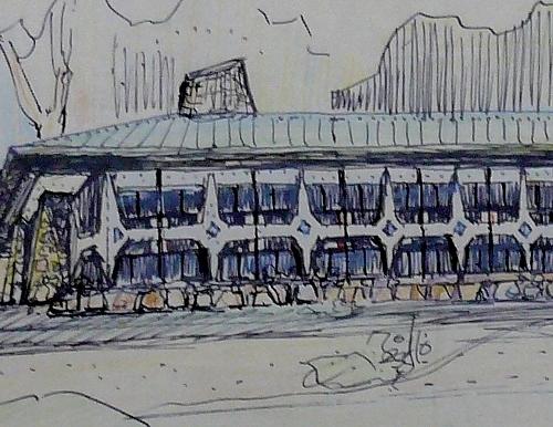 支笏湖レジャーセンター(仮称) スケッチ 雪国的造形