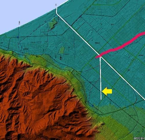 標高図 手稲 新川、炭鉱排水周辺 広域