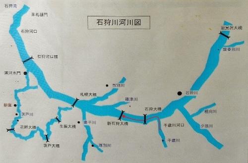 石狩川河川図(弁天丸船内の貼り紙)