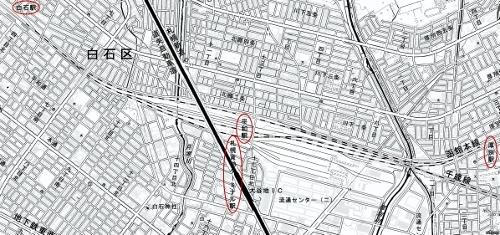 地理院地図 JR白石駅、平和駅、札幌貨物ターミナル駅、厚別駅