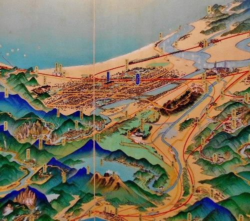 北海道鳥瞰図 吉田初三郎 1936年 札幌周辺