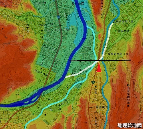 色別標高図 90m未満から10m毎10色 古豊平川の流路 再掲