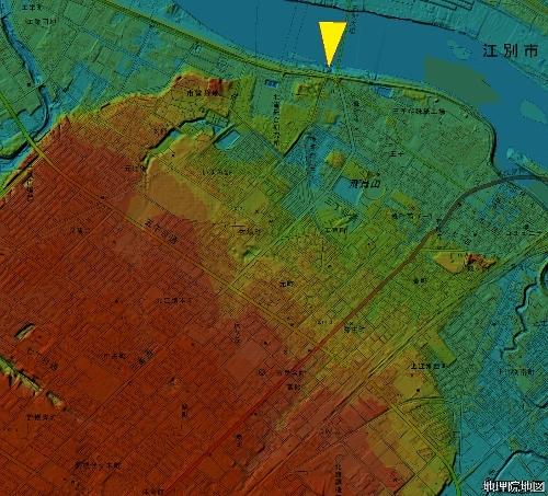 色別標高図 江別 旧モショッケ川一帯 標高8m未満から2mごとに10段階