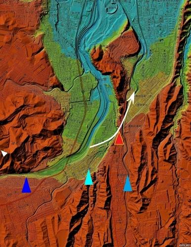 色別標高図 90m未満から10mごと10色陰影付き 豊平川 穴の川 真駒内川 古豊平川想定流路