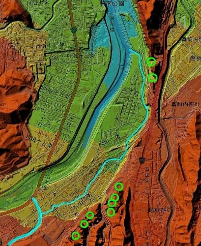 色別標高図 90m未満から10mごと7色陰影付 穴の川下流域