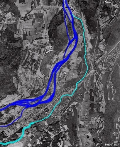 空中写真1961年 石山 穴の川