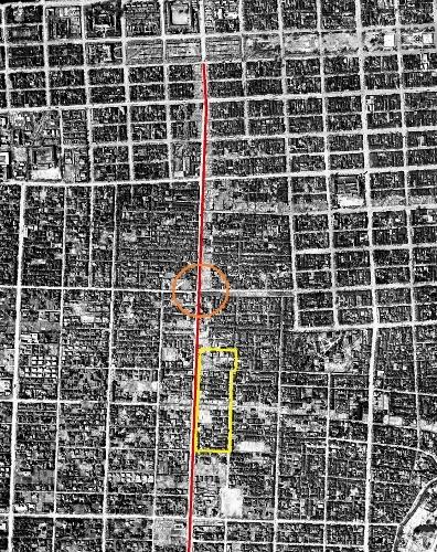 1948年空中写真 石山通 建物疎開 再掲