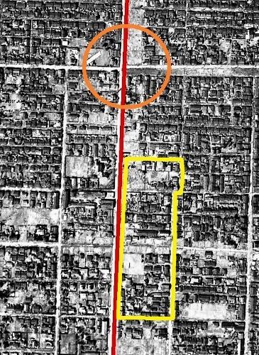 1948年空中写真 石山通 建物疎開 再掲 南6~9条西10丁目あたり拡大
