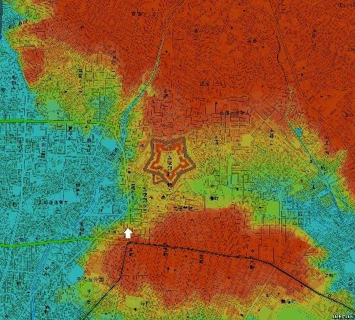 色別標高図 五稜郭周辺 10m未満から1m毎10色 行啓通
