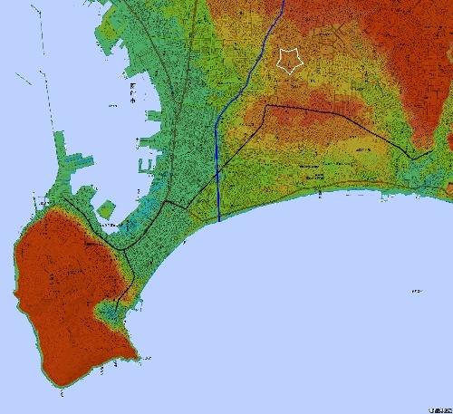 色別標高図 五稜郭周辺 広域 1m未満から3mごと10色