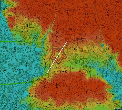 色別標高図 五稜郭 10m未満から1m毎10色 星型の配置