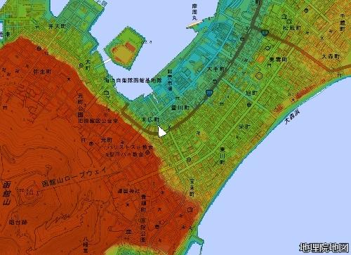 色別標高図 標高1m未満から1mごと10色段彩 函館 十字街