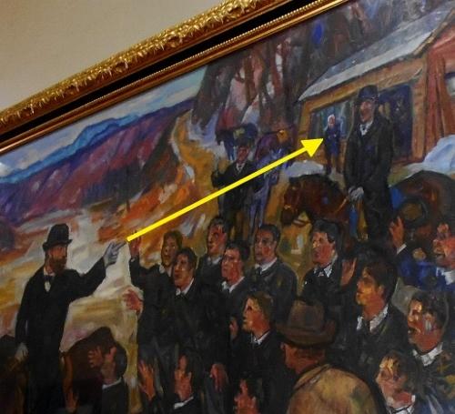 道庁赤れんが 舎内の絵画「島松での別離」 クラーク先生 指さした先