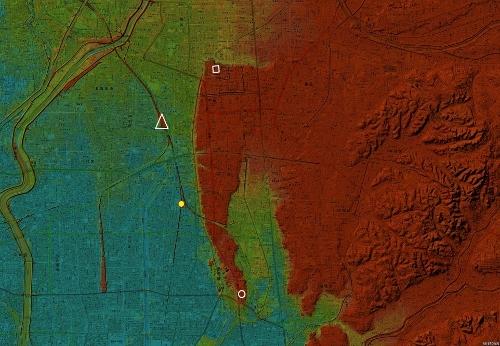 色別標高図 名古屋市中川区 「八島」 標高1m未満から1mごと10色