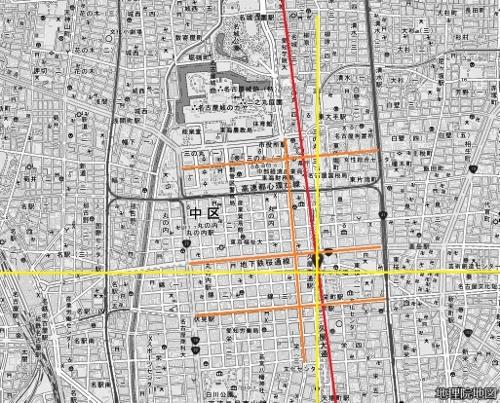 名古屋中心部 現在図 碁盤割 方位線 磁北線
