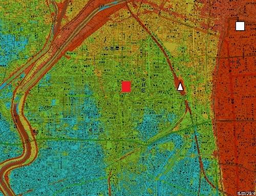 名古屋市 旧中村遊郭周辺 色別標高図 1m未満から1mごと7色