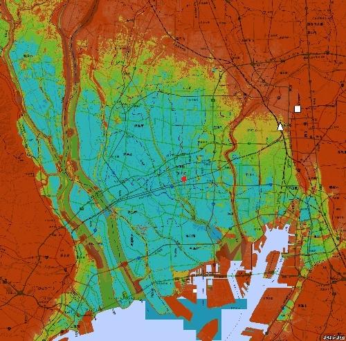 色別標高図 愛知県蟹江町周辺 0m未満から1mごと7色
