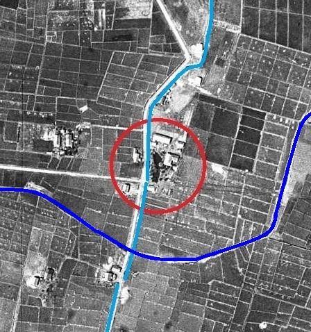 空中写真 1948年米軍 東裏 小泉川  1号用水路