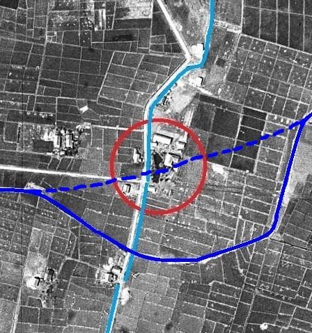 空中写真 1948年 一号用水路 小泉川との交差