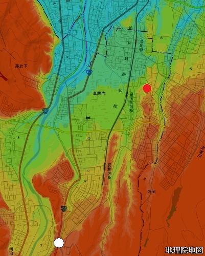 標高図 札幌扇状地平岸面 真駒内から平岸あたり