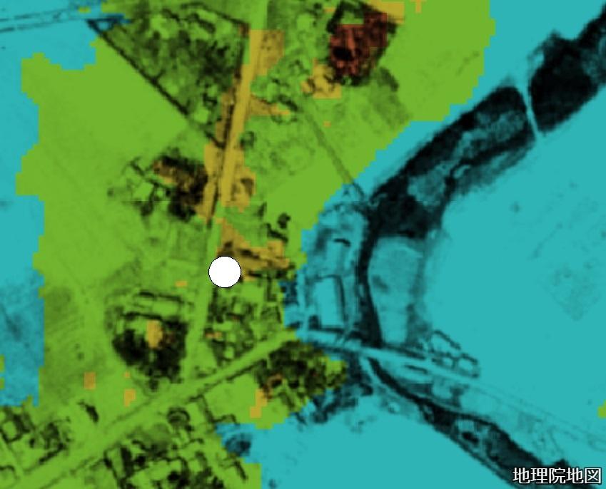 色別標高図×1948年空中写真 札幌村郷土記念館あたり