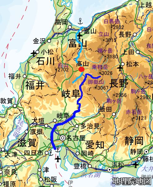 広域図 飛騨高山 宮川 飛騨川