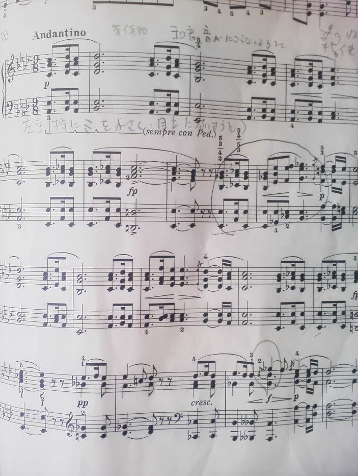 シューベルト即興曲142-2楽譜