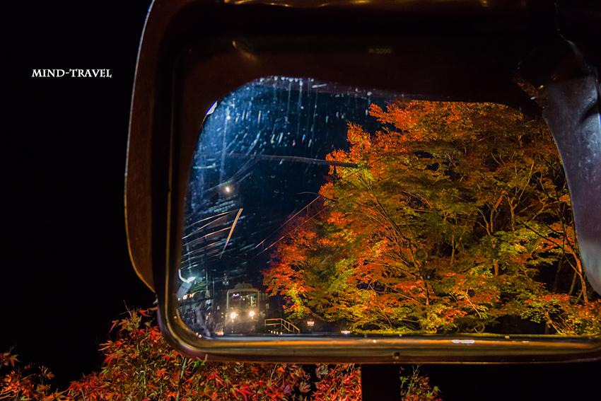 貴船駅 ミラーに映る列車