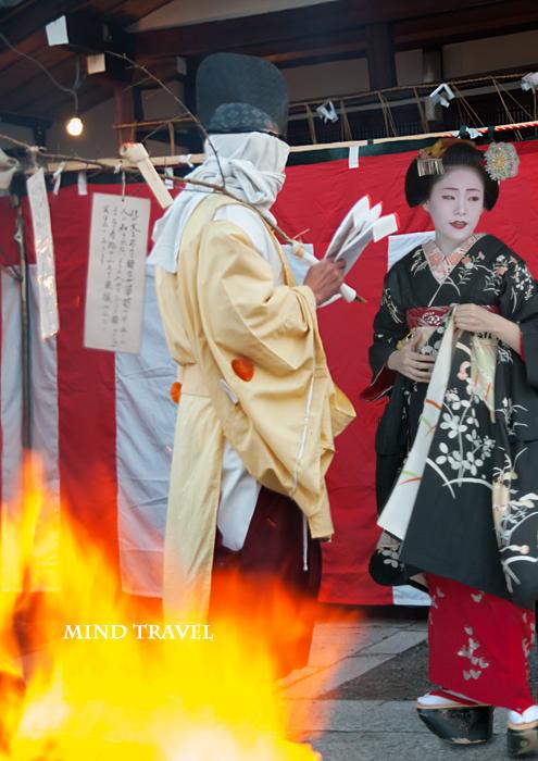 須賀神社 懸想文売り と 舞妓さん
