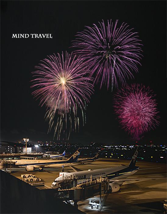 伊丹空港よりいたみ花火大会を望む
