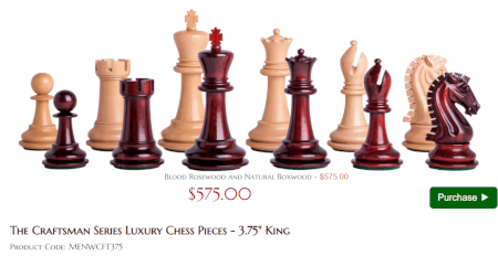 The Craftsman Series Luxury Chess Pieces - 3.75