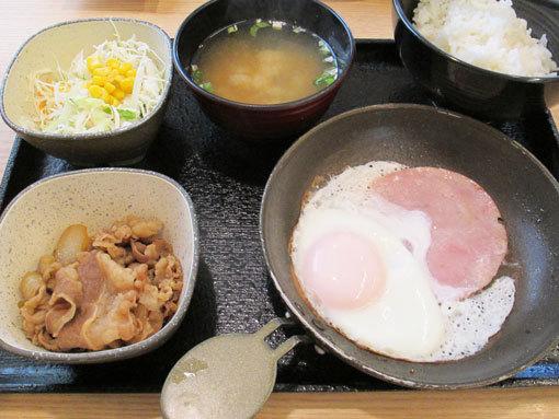 ハムエッグ牛小鉢定食