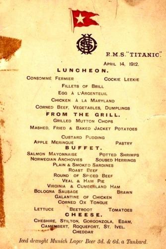 09a 600 menu titanic 1st class