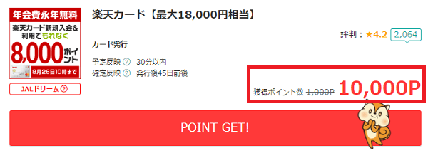 モッピーの楽天カード発行