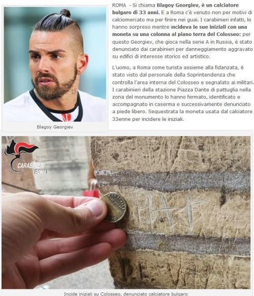 Blagoy Georgiev caught writing his name on columns of the Coliseum in Rome with a coin