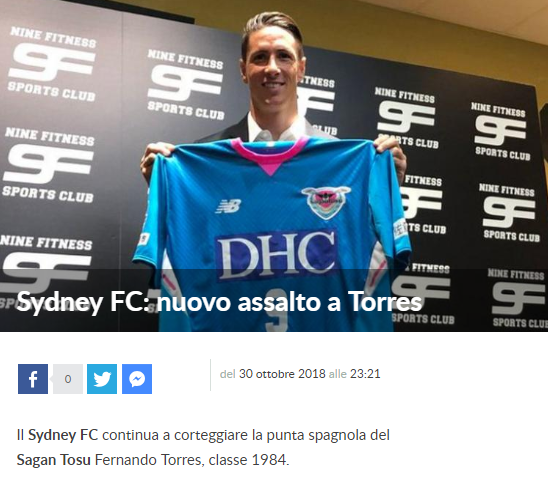 Sydney FC nuovo assalto a Torres