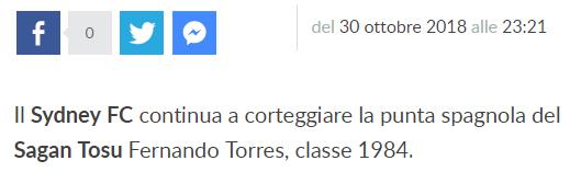 Sydney FC continua a corteggiare la punta spagnola del Sagan Tosu Fernando Torres