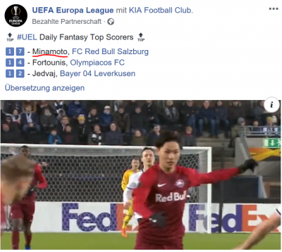 Official Europa League Group Stages Best XI minamino