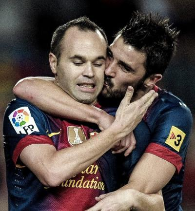 David Villa reunites with former Barcelona and Spain team-mate Andres Iniesta at Vissel Kobe