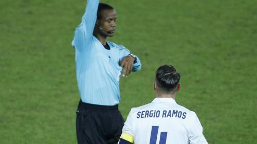 Ref pulled out a yellow card for Sergio Ramos with scores level then changed mind when he saw it would have been 2nd yellow