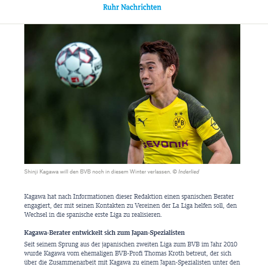 Kagawa has hired a Spanish consultant to help with his contacts to clubs of the La Liga