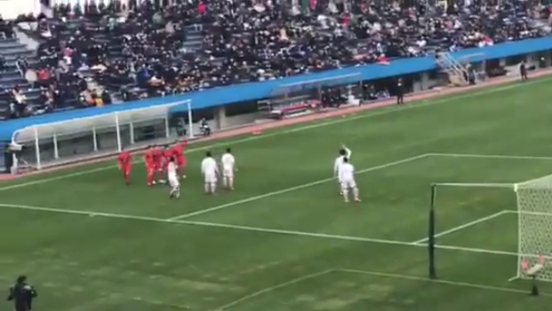 Original corner kick routine from Japanese high school football match
