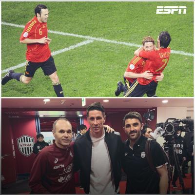 Andrés Iniesta, Fernando Torres y David Villa