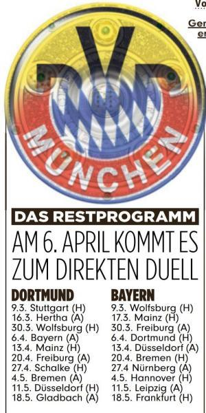 Bayern and Dortmunts remaining Bundesliga games