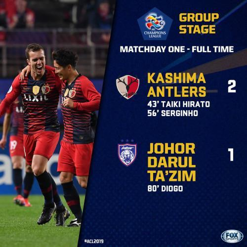 Kashima Antlers start title defence with a 2-1 win over Johor Darul Takzim in the ACL