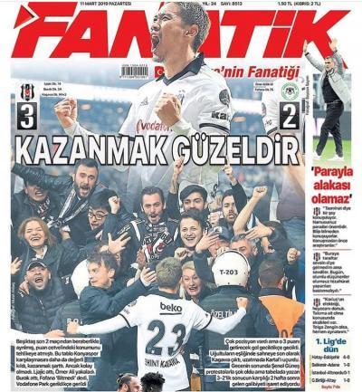 Besiktas 3-2 Konyaspor Shinji Kagawa newspaper frontpage