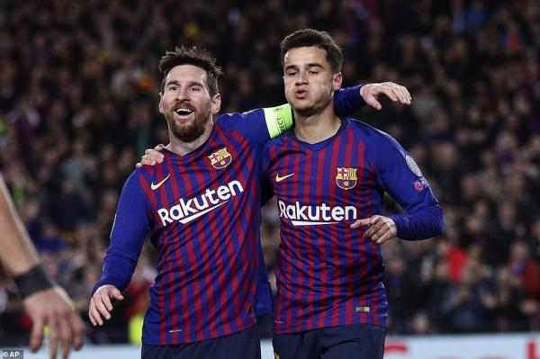 Messi and Philippe Coutinho (right) both scored against Lyon