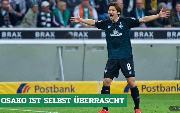 Monchengladbach 1-1 Bremen osako assists