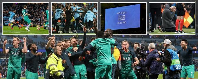 Manchester City 4-3 Tottenham Hotspur (4-4 on aggregate) UEFA Champions League Quarterfinal